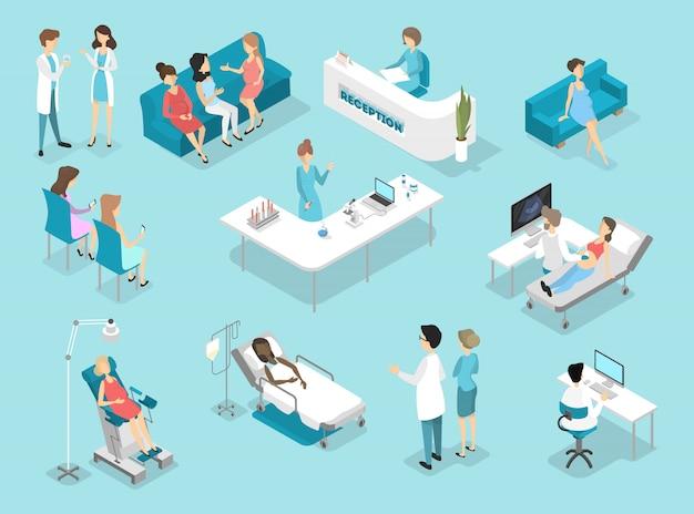 Interior isométrico de procedimientos de ginecología: examen en laboratorio y sala de espera. médicos y enfermeras que tratan a pacientes femeninas en el hospital. ilustración plana
