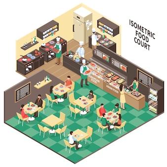 Interior isométrico del restaurante de comida rápida