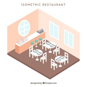 Interior isométrico de restaurante