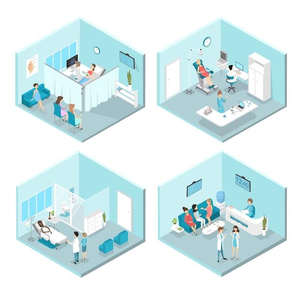 Interior isométrico de salas de ginecología: recepción, laboratorio, salas de espera y exploración. médicos y enfermeras que tratan a pacientes femeninas en el hospital. ilustración