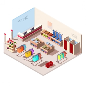 Interior isométrico de tienda de moda