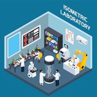 Interior de laboratorio de diseño isométrico