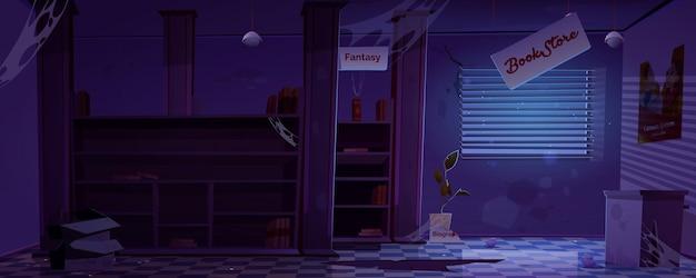 Interior de librería abandonada en la oscuridad de la noche