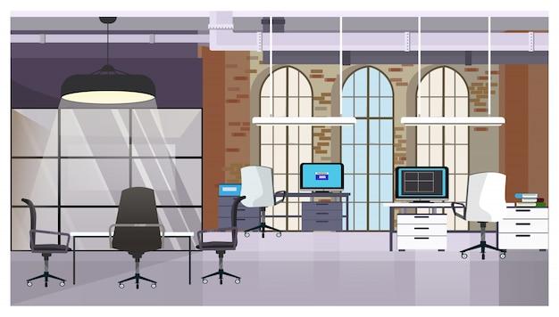 Interior de loft con pared de ladrillo y ventanas ilustración