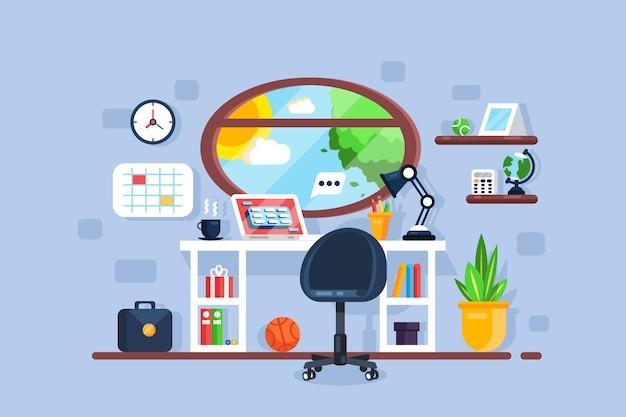 Interior de lugar de trabajo freelance creativo con ventana