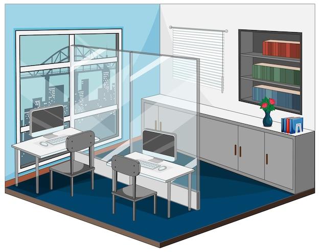 Interior del lugar de trabajo con muebles.