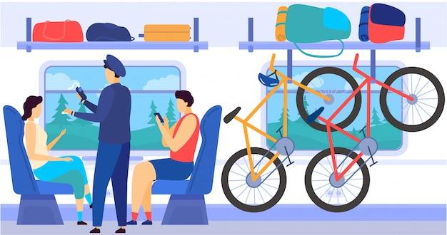 Interior del metro del tren con pasajeros que viajan diariamente, controladores, bicicletas en la celda de equipaje, ilustración de dibujos animados de equipaje.
