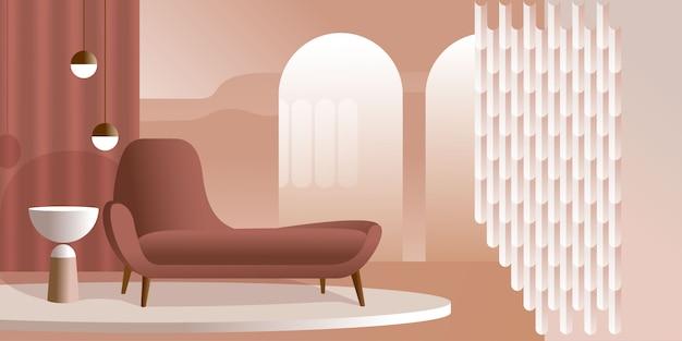 Interior moderno abstracto en tonos pastel de color coral.