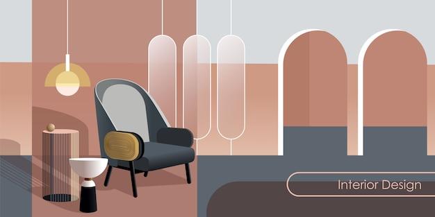 Interior moderno abstracto en tonos pastel de color rosa.