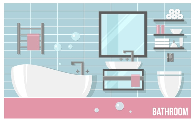 Interior moderno de baño con azulejos azules en estilo plano.