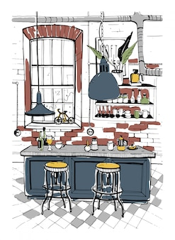 Interior moderno café en estilo loft. dibujado a mano ilustración colorida.