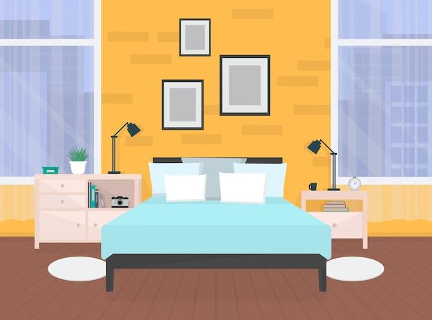Interior moderno dormitorio naranja con muebles y ventanas.