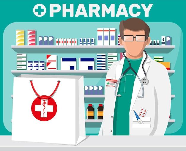 Interior moderno de farmacia y farmacéutico masculino. medicina píldoras cápsulas botellas vitaminas y tabletas. escaparate de la farmacia. estantes con medicamentos. drogas médicas, salud. ilustración vectorial plana