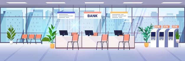 Interior moderno de la oficina del banco con cajeros automáticos y escritorios para el personal vestíbulo de la sala corporativa con muebles y cajeros automáticos concepto de banca ilustración vectorial horizontal