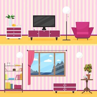 Interior moderno de la sala de estar del estilo plano colorido