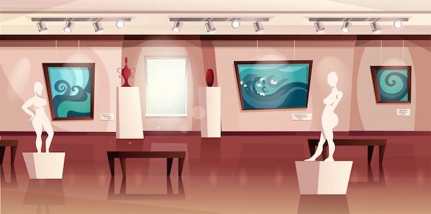 Interior del museo con obras de arte modernas en paredes, esculturas, jarrones. galería de arte con exposición. ilustración de dibujos animados