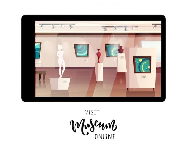 Interior del museo con obras de arte modernas en paredes, esculturas, jarrones. visita museo en línea. tipografía de letras.