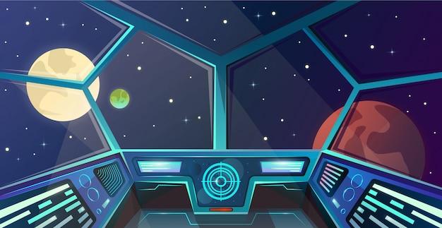 Interior de la nave espacial del puente de capitanes en estilo de dibujos animados