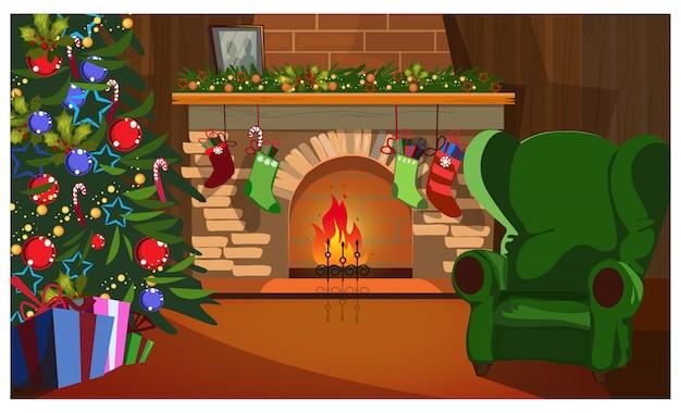 Interior navideño decorado con abeto, chimenea y calcetines.