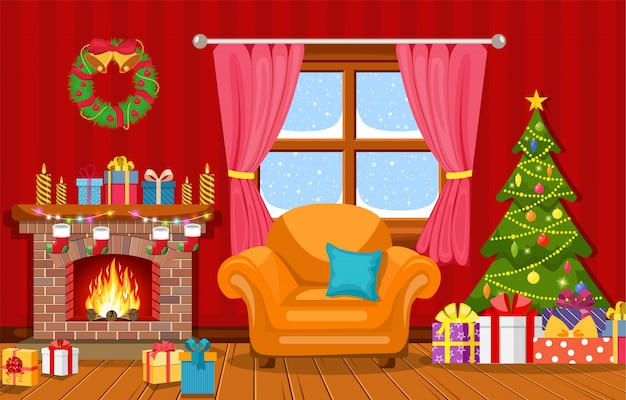 Interior navideño de la sala de estar