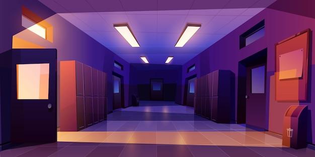 Interior de la noche del pasillo de la escuela con taquillas