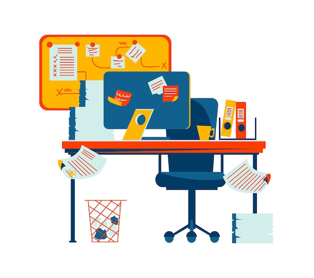 Interior de oficina aislado en blanco