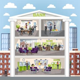 Interior de la oficina del banco. la gente realiza operaciones financieras