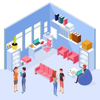 Interior de la oficina en casa isométrica. espacio de trabajo 3d con ordenador y mobiliario con personas. interior de la sala de oficina isométrica con mesa y silla ilustración
