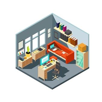 Interior de la oficina en casa isométrica. espacio de trabajo 3d con ordenador y mobiliario.