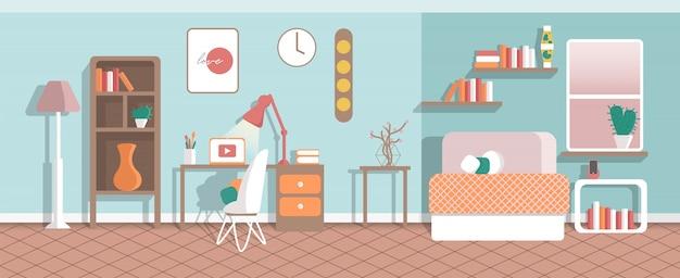 Interior de la oficina en casa sin personas. lugar de trabajo moderno gabinete con mesa, lámparas, computadora portátil, silla. trabajo a distancia, independiente.