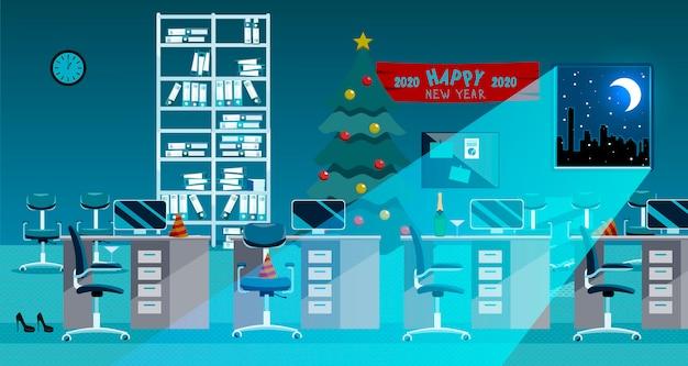 Interior de la oficina después de la celebración del año nuevo. trastorno después de la fiesta corporativa en la oficina.