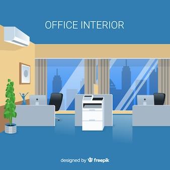 Interior de oficina elegante con diseño plano