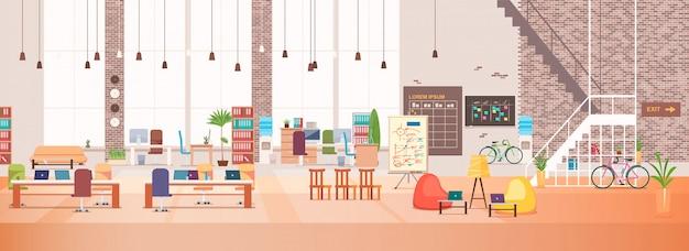 Interior de la oficina. espacio de trabajo de coworking. vector.