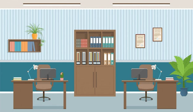 Interior de oficina lugar de trabajo con dos lugares de trabajo y muebles de oficina como mesas, computadoras portátiles.