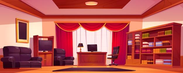 Interior de oficina de lujo vacía con muebles de madera