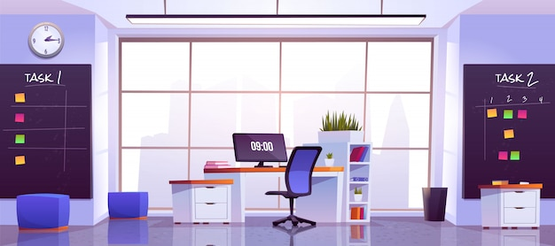 Interior de oficina con mesa de computadora