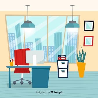 Interior de oficina moderna dibujada a mano