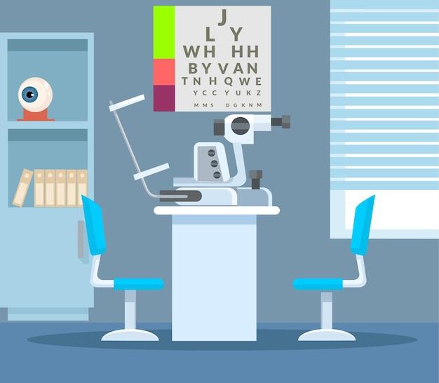 Interior de la oficina del oftalmólogo
