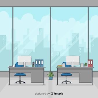 Interior de oficina profesional dibujado a mano
