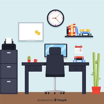 Interior de oficina profesional con diseño plano