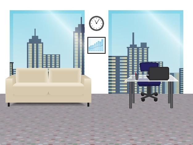 Interior de oficina con ventanas panorámicas. ilustración vectorial.