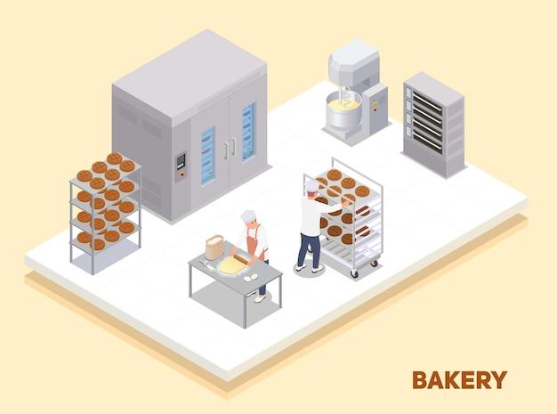 Interior de panadería isométrica