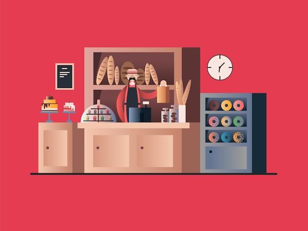 Interior de panadería con vendedor. tienda, venta al por menor de alimentos, pastelería y pan.