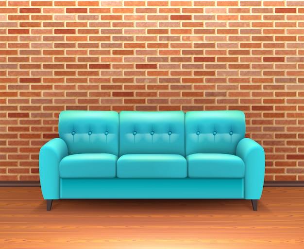 Interior de pared de ladrillo con sofá realista