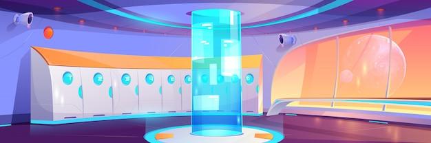Interior del pasillo de la escuela futurista con taquillas