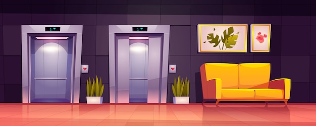 Interior de pasillo vacío con ascensor y sofá