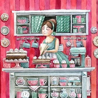 Interior de pastelería adorable en acuarela