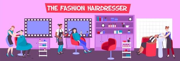 Interior de peluquería con clientes y peluqueros creando peinados de moda