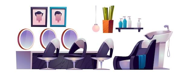 Interior de peluquería con sillones de peluquería, espejos, lavabo y cosméticos.