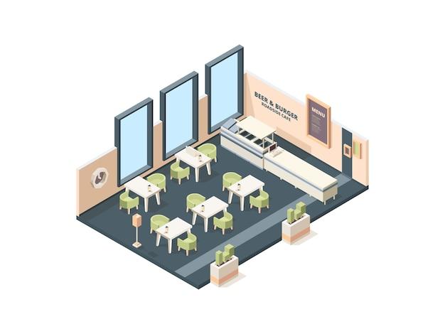 Interior de la pizzería. plan cruzado de la oficina industrial italiana del buffet del restaurante de la comida rápida con el edificio isométrico del vector de los muebles. pizza de café, pizzería de comida de restaurante